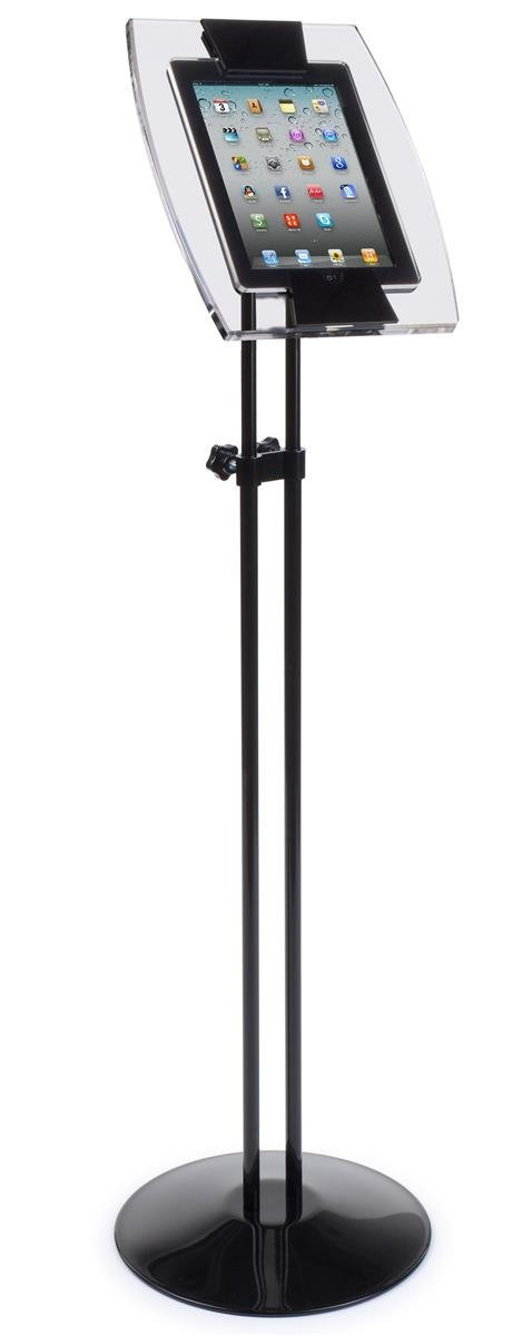 iPad Stand for Floor, Fits 2nd and 3rd Generations, Height-Adjustable Touch-Screen Tablet Holder with 360-Degree Rotating Bracket - Clear Acrylic Enclosure, Black Aluminum Stand
