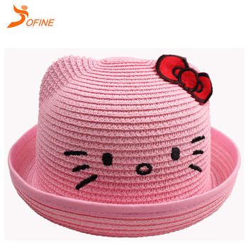 9ef2a1d56 Wholesale cute Hello Kitty hat for summer Children paper straw hats
