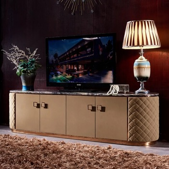 Fo441 Postmodern Italian Luxury Tv Stand Furniture With Marble Top Cowhide Leather Cabinet Modern