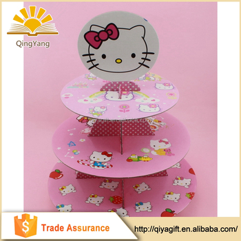 Hello Kitty Cute Tiered Cardboard Cupcake Stand For Girls Party Cake
