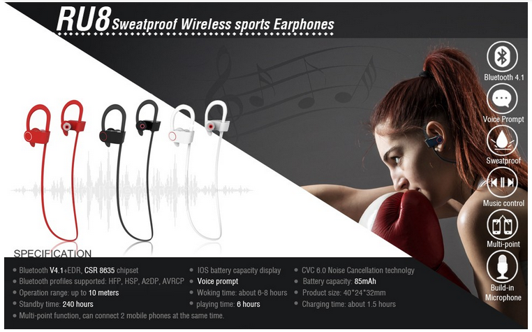 2017 Cheap Bluetooth Rohs Earphones Stereo Neckband Wireless Bluetooth Headphones R1615