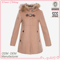 New designs fashion wool and polyester faux fur on hoodie warm high quality and best price men coat brands