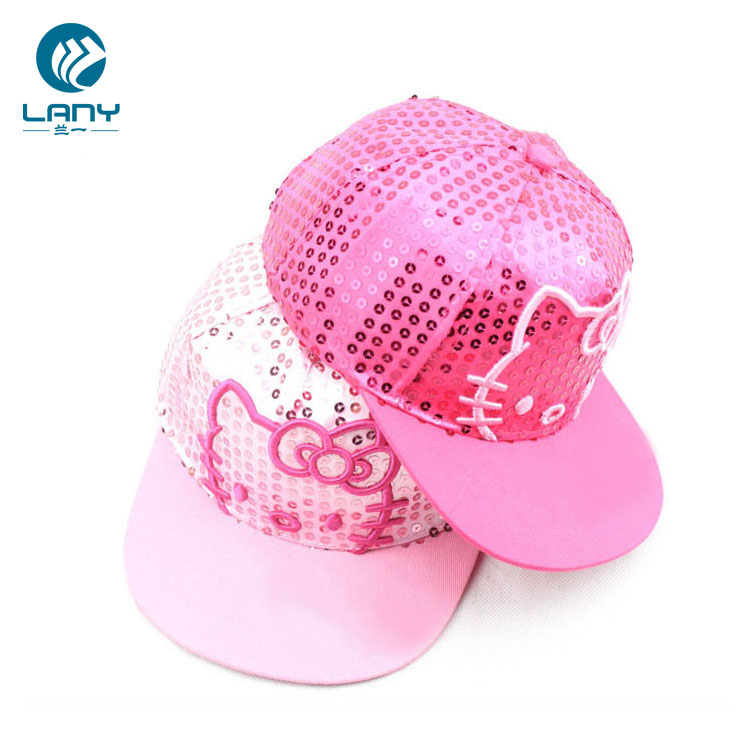 Sequin Hello Kitty 5 Panel Baby Flat Brim Hat Snapback Cap - Buy 5 ... 806e04dc472