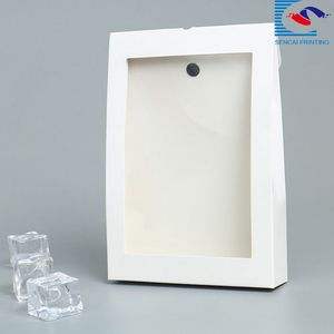 Folding food package paper box with clear window