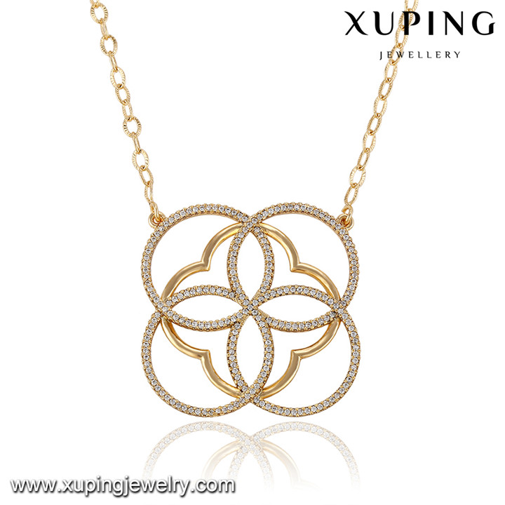 43007 Xuping simple imaged latest design saudi gold jewelry necklace