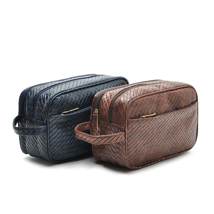 d16fcab63b Get Quotations · 2015 Luxury Toiletry Bags Men Knitted Leather Cosmetic Bags  Big Travel Makeup Bag Large Designer Male