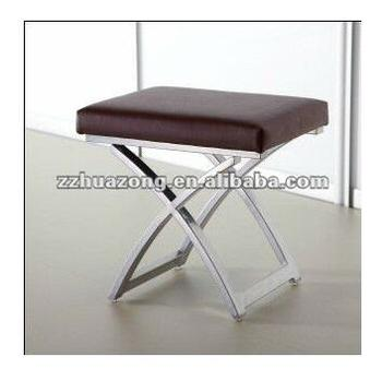 Bedroom Stool Chair Choc Ivory Black Faux Leather Dressing Table Steel