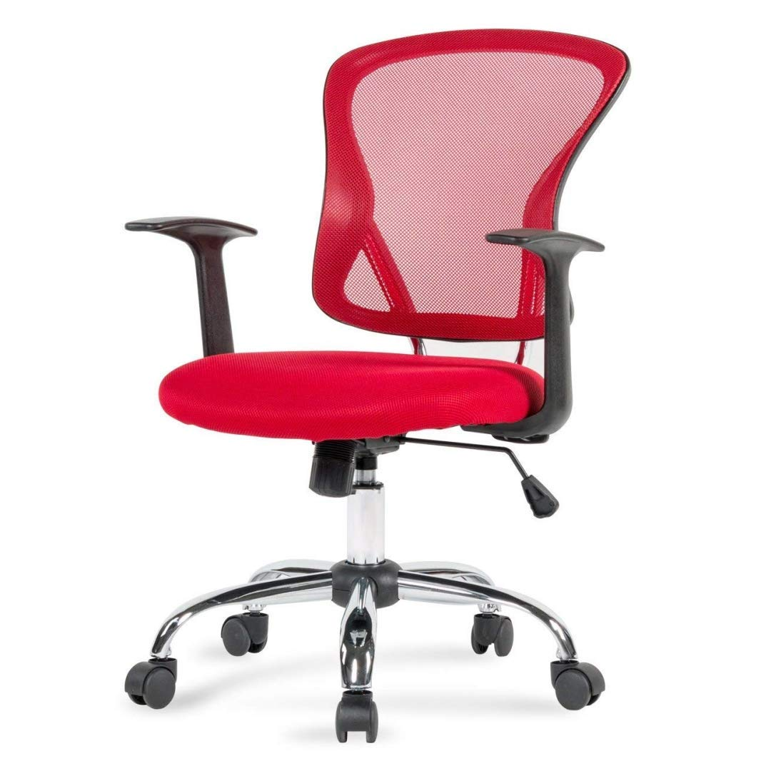 Modern Design Mid-Back Computer Desk Task Dining Room Chair Height Adjustable 360-Degree Swivel Seat Comfortable Padded Mesh Upholstery W/Armrest Home Office Furniture - (1) Red #2003