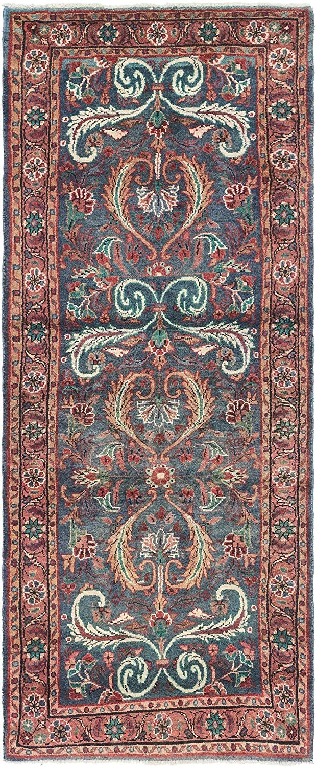 Traditional Hand Knotted Wool 3 feet by 8 feet (3' x 8') Runner Mehraban Navy Blue Persian Area Rug