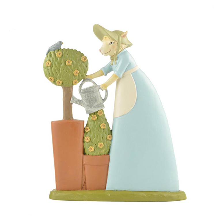Figurine of a custom-made resin Easter bunny watering tree