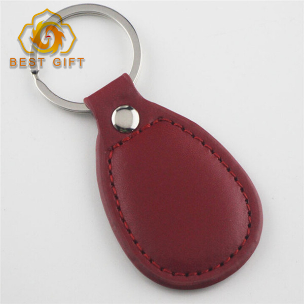 2017 Fancy cheap custom colorful round metal and leather floating blank car key ring