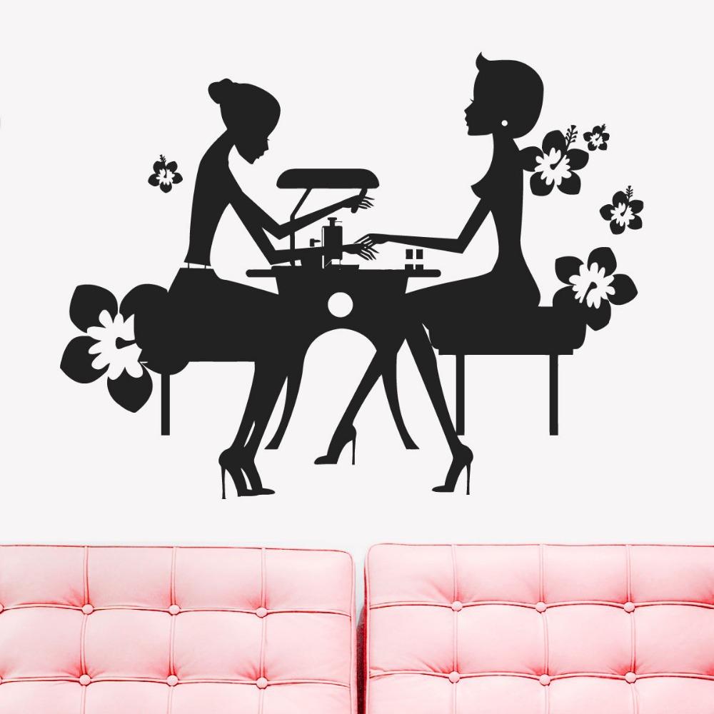 salon sticker decal nail muurstickers posters vinyl wall art decals pegatina quadro parede decor. Black Bedroom Furniture Sets. Home Design Ideas