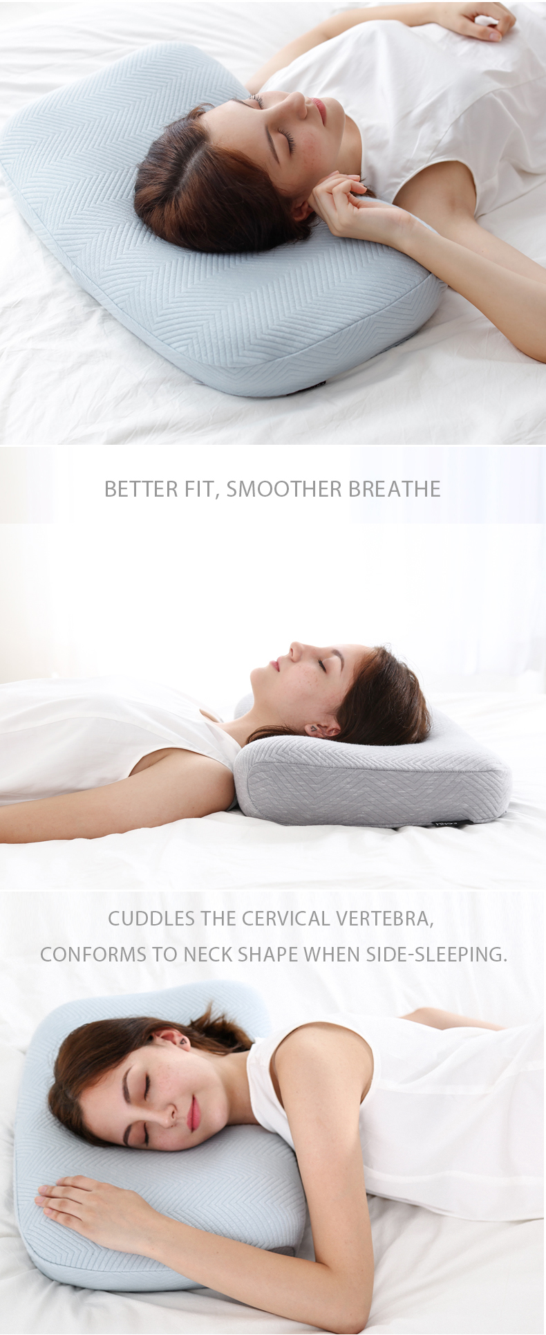 Orthopedic Hotel Hypoallergenic Bamboo Charcoal Bed Rest Anti Wrinkle Cervical Contour Sleep Memory Foam Pillow Health
