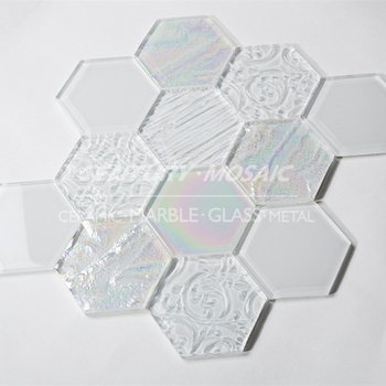 Century Hexagon Crystal Gl Mosaic 4 Inch Cameo Wall Tile For Backsplash