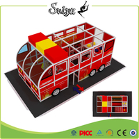 CE standard firefighter and fire truck themed indoor play structure kids indoor play area