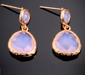 Newest Design Rose Gold Plated Faceted Triangle Gemstone Earring