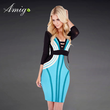 Fashion high quality cute black and white and blue hollow long sleeve short skirt evening dresses