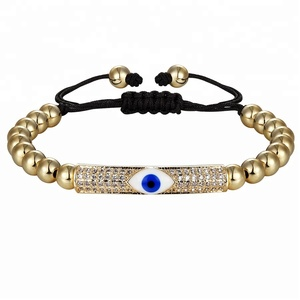 High Quality CZ Micro Pave Beads Handmade Adjustable Bangle,New Design Evil Eyes Long Tube Women Charm Yoga Bracelet Jewelry