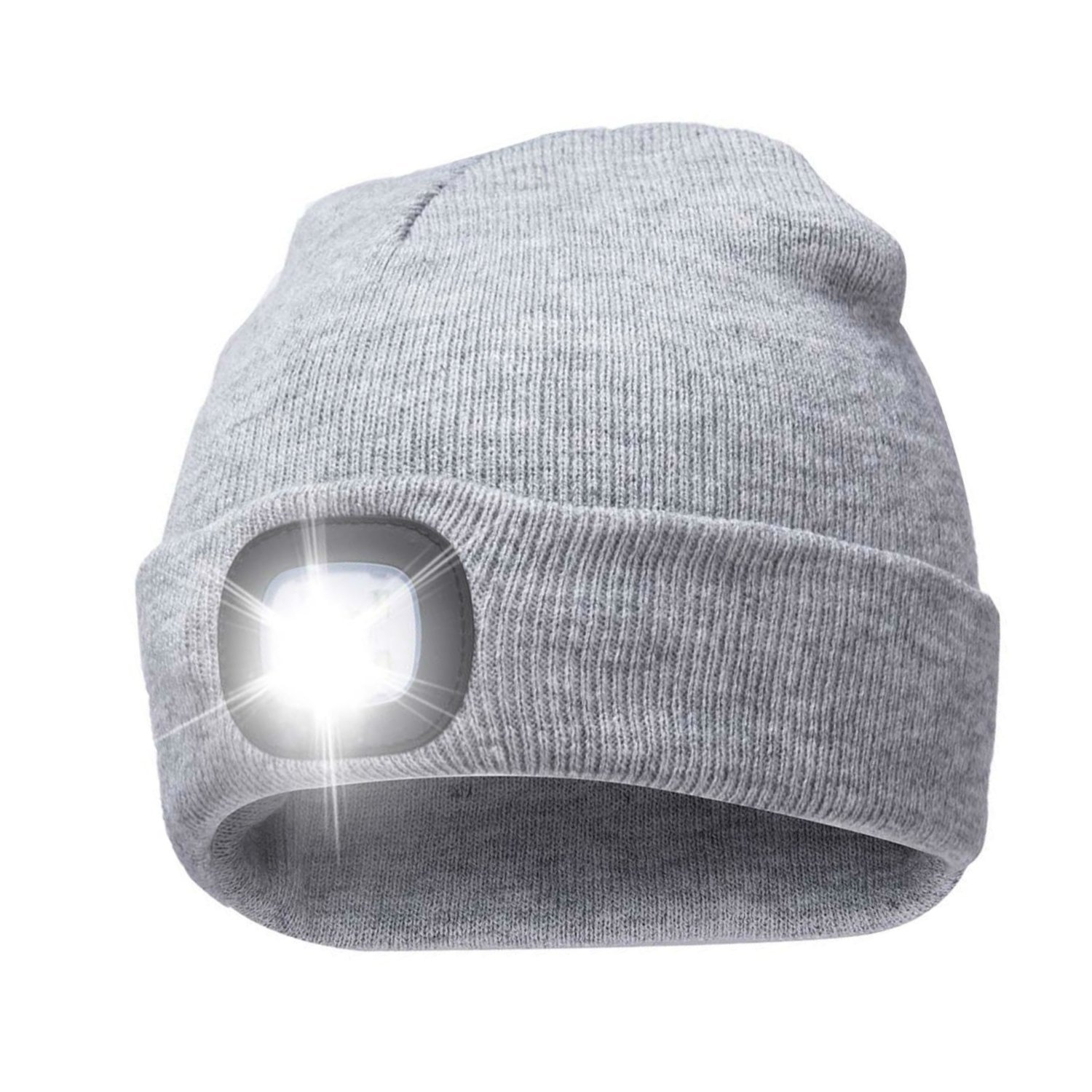 ec5286bf22f08 Get Quotations · Unisex Rechargeable 4 LED Knitted Beanie Hat for Camping