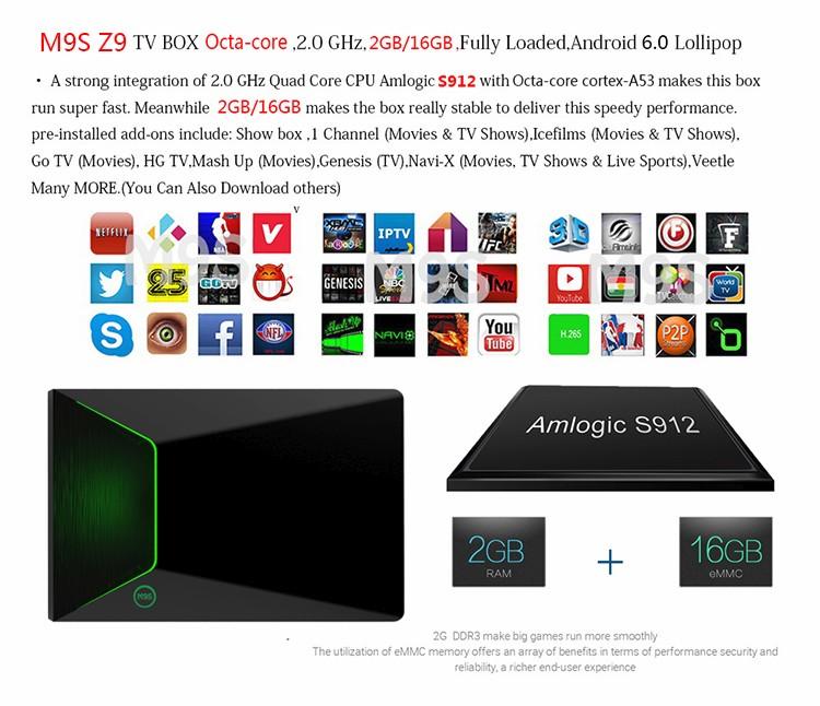 Custom Firmware Android Tv Box M9s Z9 Kodi Tv Box M9s Z9 2g Ram 16g Rom  Black Box Internet Tv Receiver - Buy Custom Firmware Android Tv Box,Kodi Tv