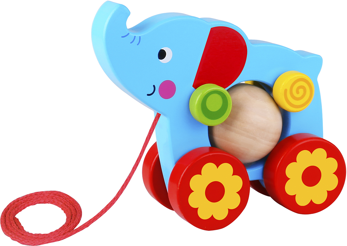 String Wooden Toys Toddler Pull Along Elephant Toy