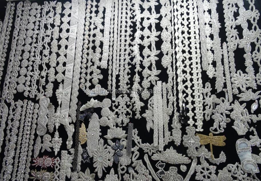 Motif wave olive crystal rhinestone beaded bridal ribbon belt