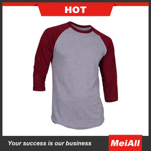 Custom Mens 3/4 Sleeve Baseball T Shirt Plain Baseball T Shirts Blank Cotton Baseball tshirt