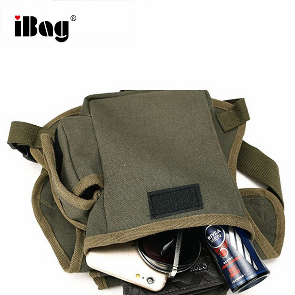 Black Men Canvas Drop Leg Bag Waist Pack Canvas Belt Outdoor Hip Pouch Travel