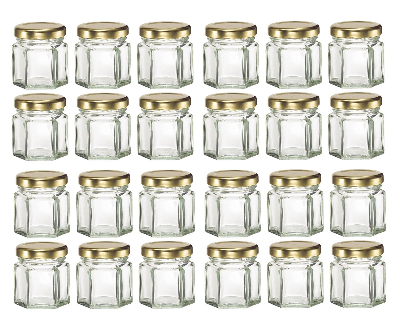 PremiumVials 24 pcs, 1.5 oz Mini Hexagon Glass Jars with GOLD lids for Jam, Honey, Wedding Favors, Shower Favors, Baby Foods, DIY Magnetic Spice Jars