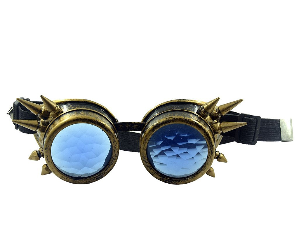 anti-yellow copper Spiked frame sapphire lens Vintage Steampunk Kaleidoscope Goggles Glasses real crystal Welding Cyber Punk Gothic