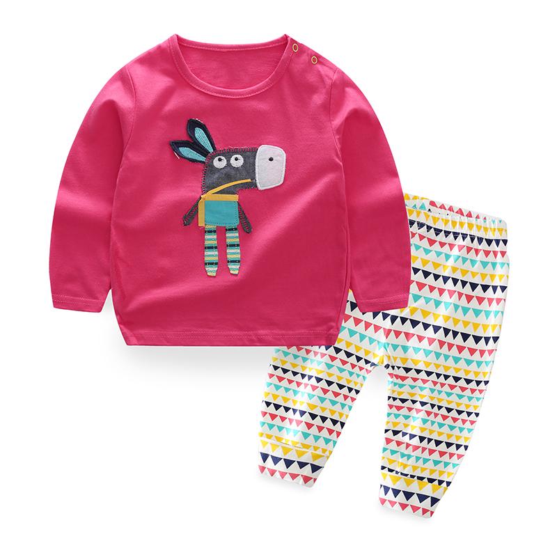 TZ1819 Groothandel Baby kleding sets Lange Mouw T-shirt + Broek 2 stuks Lente neonatale jumpsuit neonatale kleding