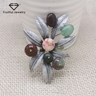 Brooch Stone Brooches Stone Vintage Antique Silver Plated Metal Brooch Jewelry Color Stone Beads Bouquet Brooches Leaves Pins Clothes Accessories