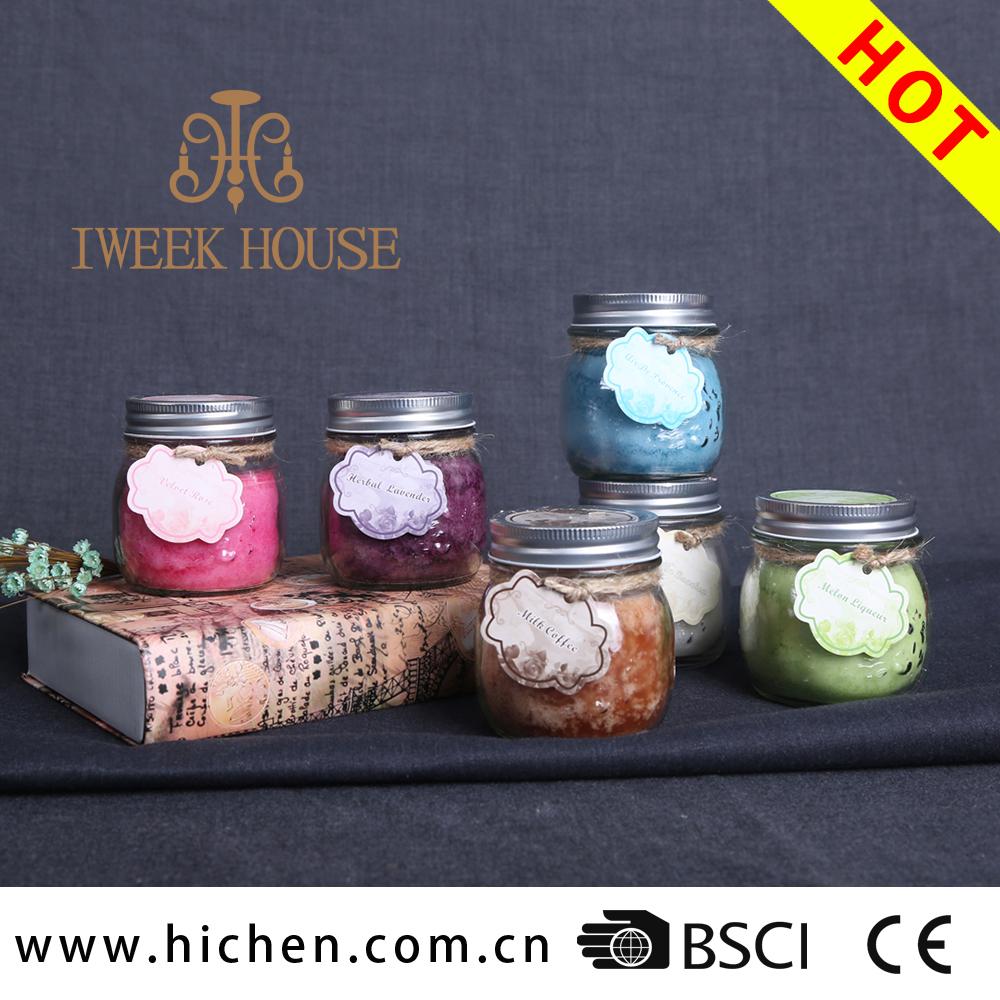 oz cera de soja ou cera de parafina cera aromtico agradvel belo frasco de pedreiro de vidro velas para a pscoa
