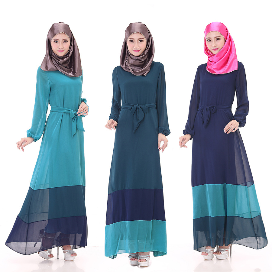 New Muslim long dress code women Muslim women's fashion long sleeve dress