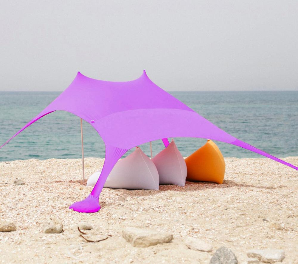 Wholesale New Lycra Beach Tent with Sand Anchor Portable Canopy Sun Shelter Pop-up UV50 Lycra Fabric Beach Tent