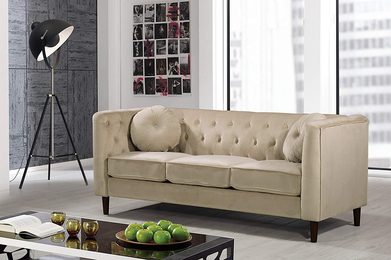 Container Furniture Direct S5376-S Kitts Velvet Upholstered Modern Chesterfield Sofa, Ivory