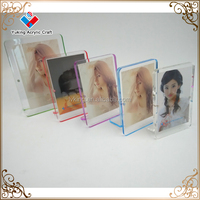 Acrylic magnetic photo frame , double side colored acrylic, magnetic picture frame for tabletop