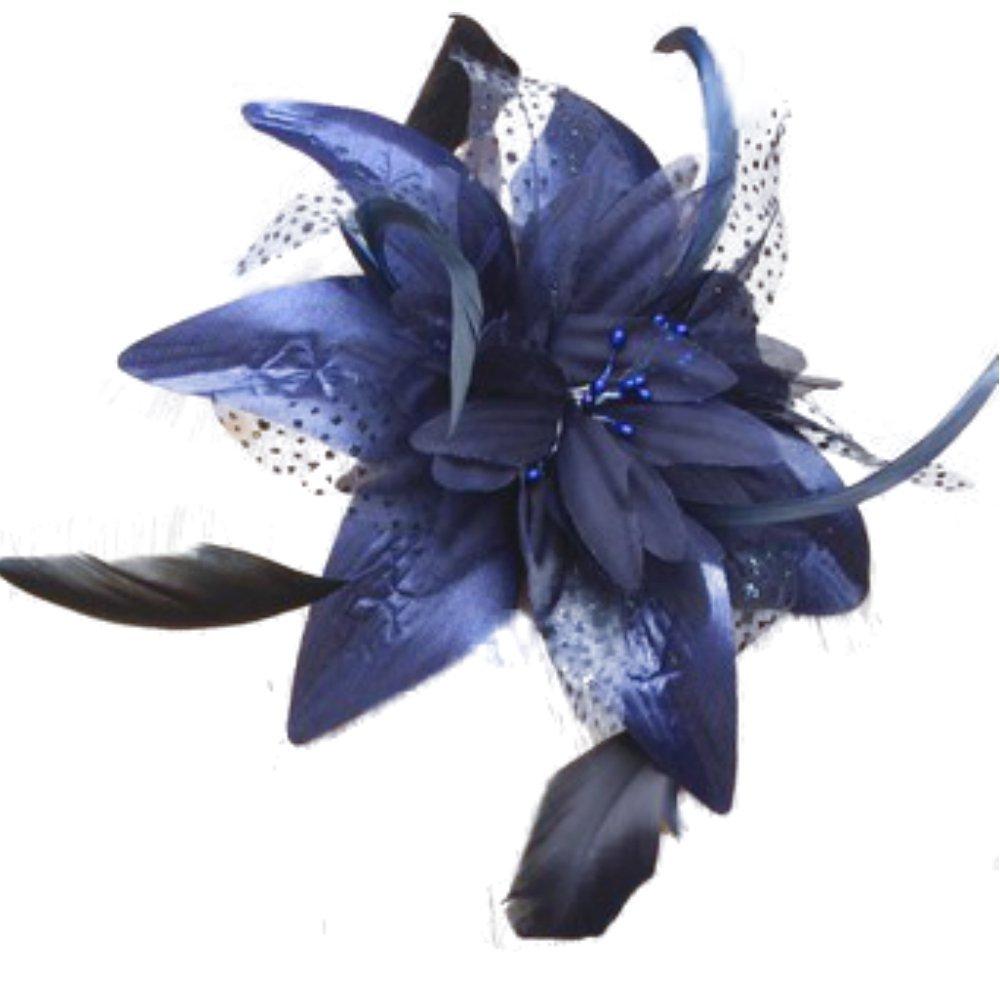Buy Navy Wedding Ascot Crystal Flower Ladies Bow Feather Felt Wool ... 3e0716a8ecc