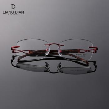 b6b1a411e938 Famous brands glasses frame titanium rectangle rimless eyewear frames