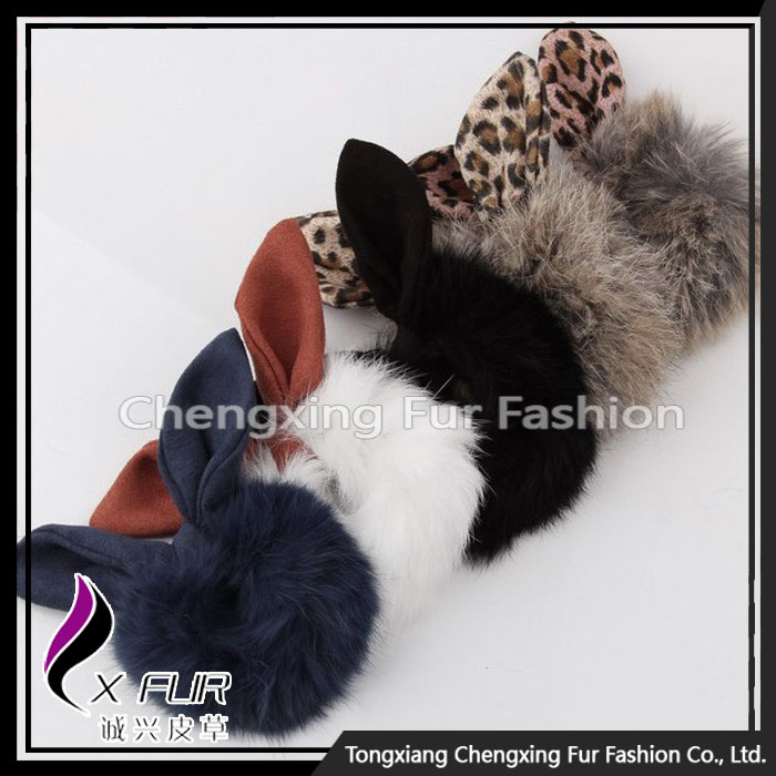 CX-E-02 Genuine Rabbit Fur Elastic Girls Hair Band