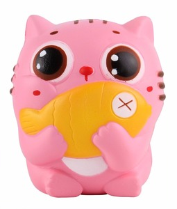 "4.5"" Squishies Cat Kitten Holding Fish Slow Rising Squishies Kawaii Scented Soft Animal Toys"