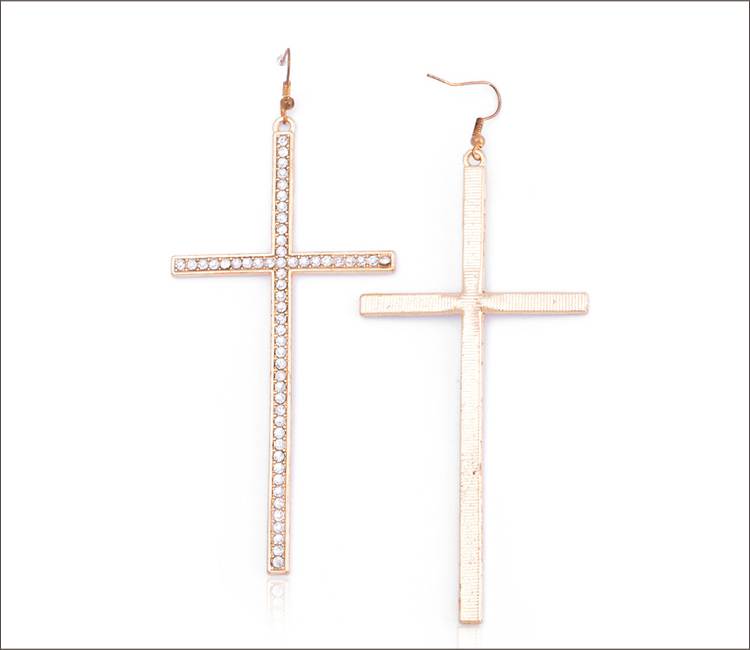 Simple Design Crystal Cross Earrings Women Gold Earring Design For ...