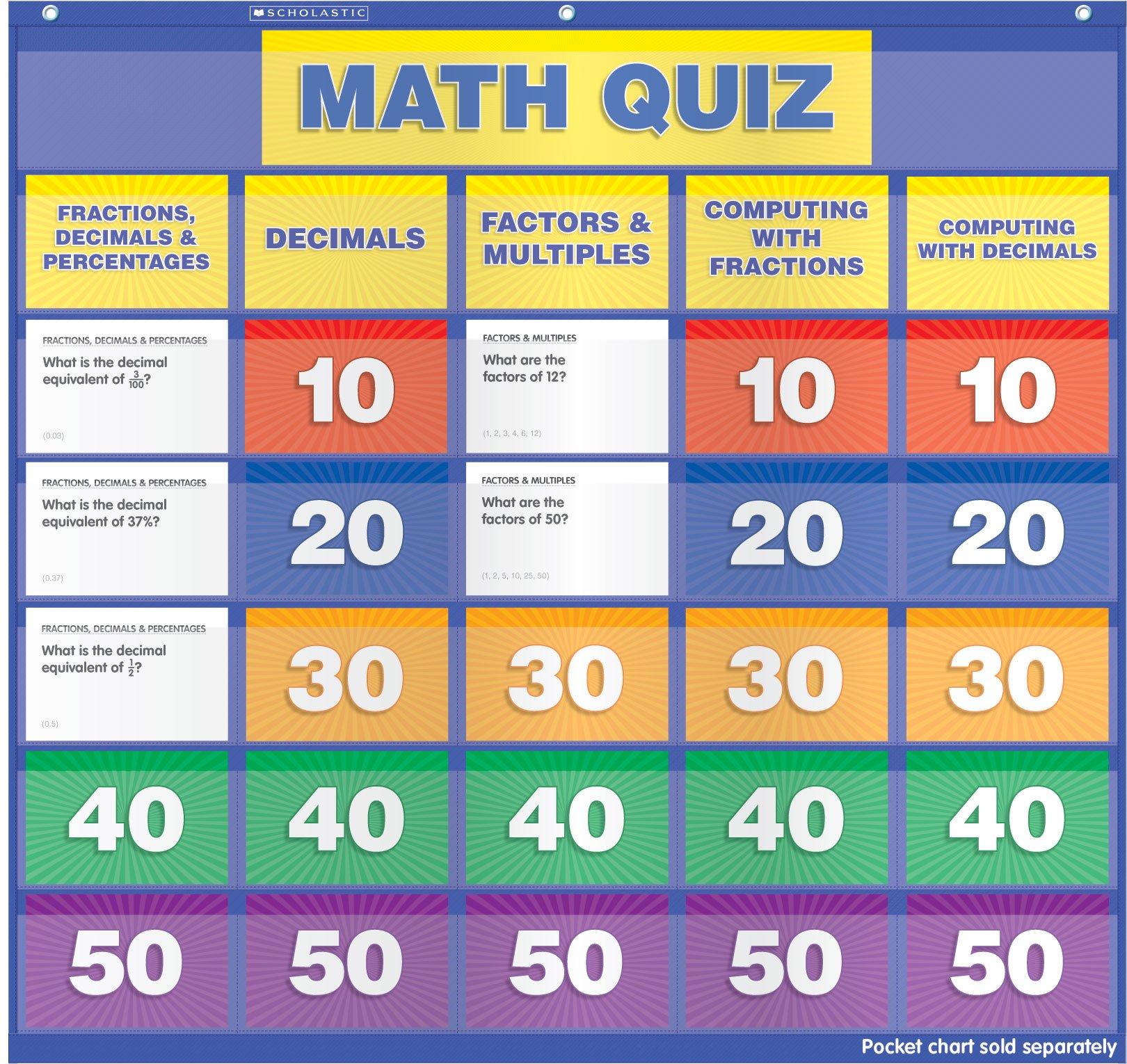 Scholastic Teacher's Friend Math Class Quiz: Grades 5-6 Pocket Chart Add-ons, Multiple Colors (TF5412)