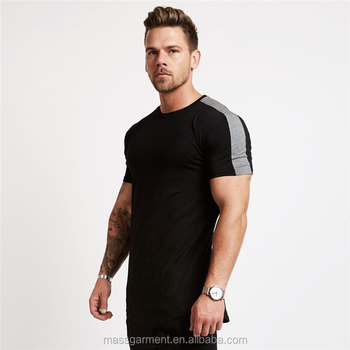 Wholesale clothes striped cotton spandex fitness t shirts for men fashion