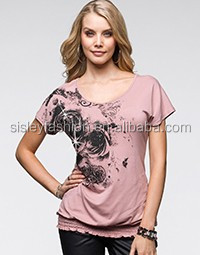 Hot sale fashion black printing t shirt with hot stone round neck t shirt women