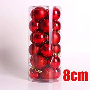 Christmas Ball 24 Light Ball 8cm Christmas Ball Plating Ball Christmas Tree Decoration (Red)