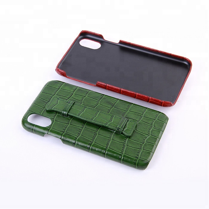 High quality crocodile embossed leather mobile phone case for iPhone 7/8/X with handle_13