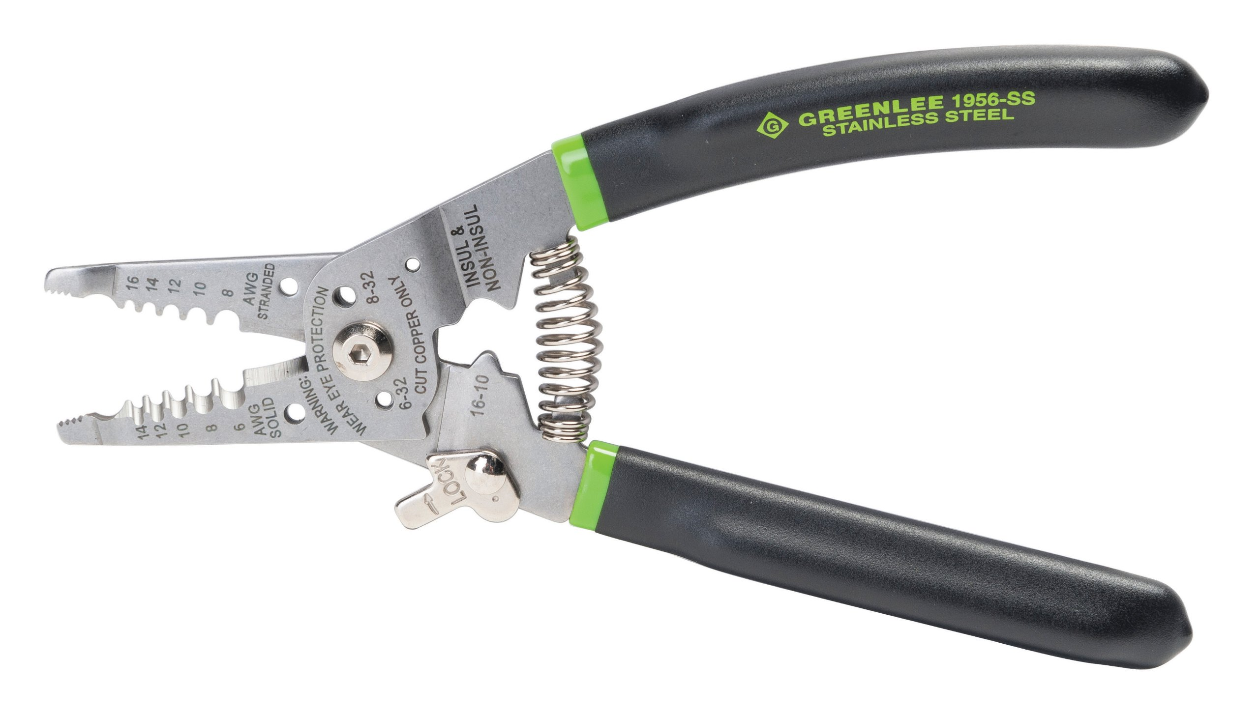 Greenlee 1956-SS Pro Stainless Wire Stripper, Cutter and Crimper Curve, 6-14AWG, 7.5-Inches