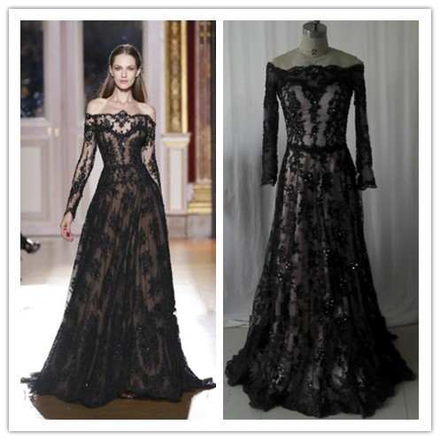 Hot Sale Long Sleeve Evening Dress 2013 New Arrival Zuhair ... Lace Prom Dresses 2013