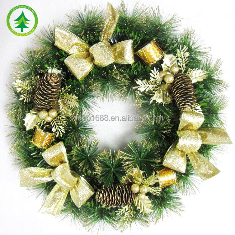 xibao brand wholesale 2017 hight quality hot sale beautiful customized artificial decoration christmas Wreath